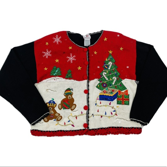 Vintage 90s Ugly Christmas Cardigan Sweater